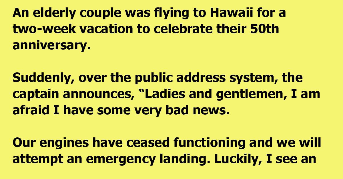 Elderly couple gets stranded on a desert island