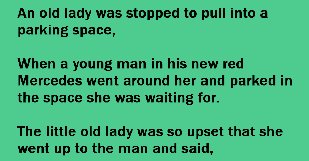 An Old Lady In A Parking Space