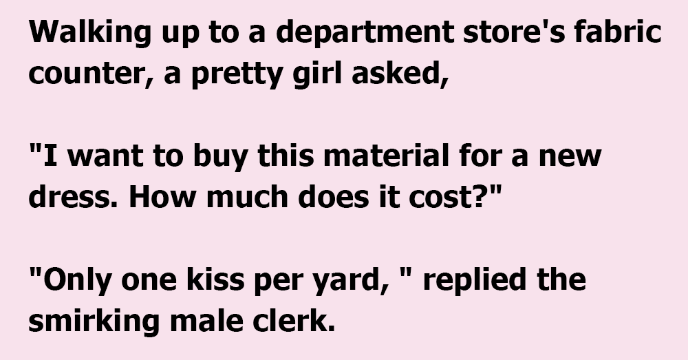 Naughty Clerk Tries It On With a Pretty Girl